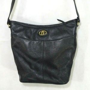 Etienne Aigner Leather Bucket Shoulder Bag Purse